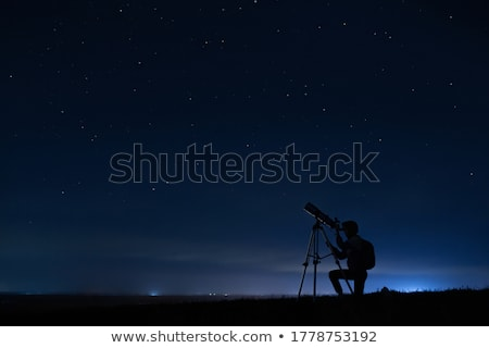 телескопом силуэта иллюстрация небе ночь Сток-фото © adrenalina