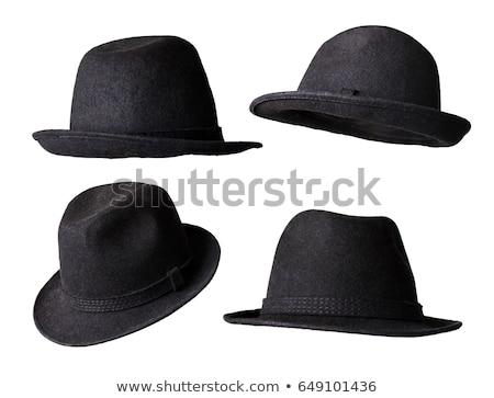 Fekete kalap izolált fehér férfiak retro Stock fotó © shutswis