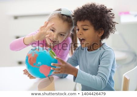 jongen · toekomst · wereld · wereldbol - stockfoto © hasenonkel