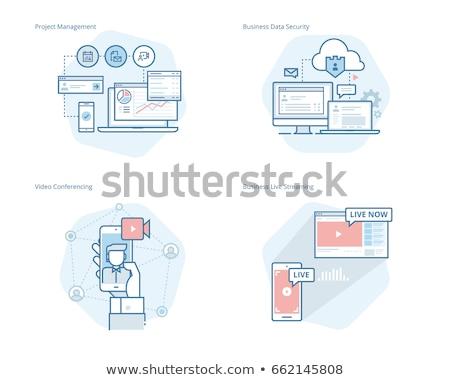 Crm güvenlik ikon dizayn iş finanse Stok fotoğraf © WaD
