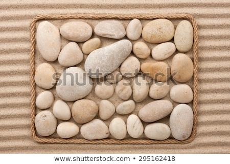 Keret kötél fehér homok hely tengerpart terv Stock fotó © alekleks