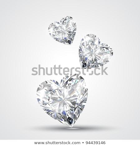 Diamant coeur forme de coeur diamants bleu fond Photo stock © elaine