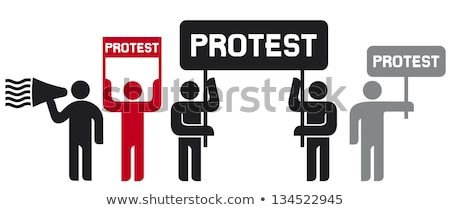 A man holding a megaphone - We are on strike Stock photo © Zerbor