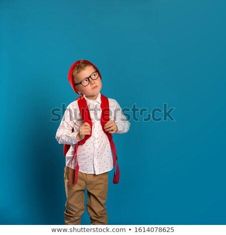 счастливым · девочку · очки · указывая · пальца · вверх - Сток-фото © dolgachov