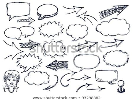 Hand-drawn arrows and speech bubbles illustration set stock photo © AleksM