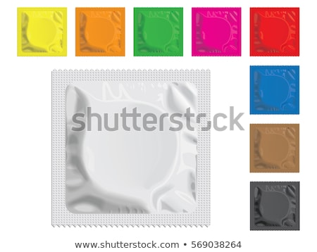 Sarı prezervatif tablo mavi bakım güvenlik Stok fotoğraf © racoolstudio