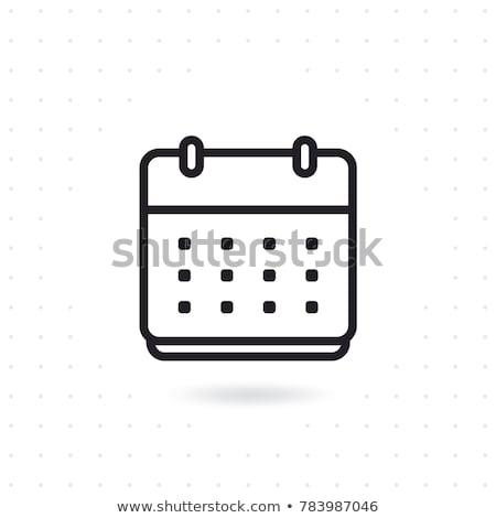 Сток-фото: календаря · линия · икона · уголки · веб · мобильных