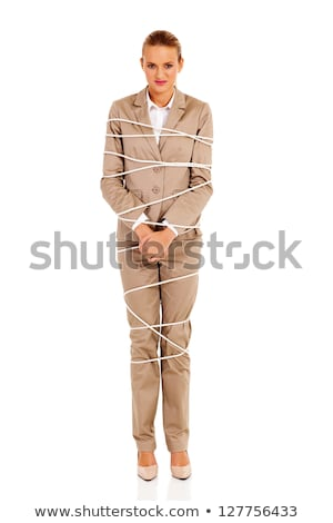 Businesswoman woman tied up with rope on white Stock photo © Elnur