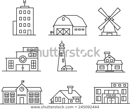 house with windmill line icon stock photo © rastudio