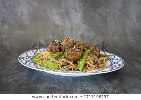 Köfte makarna yemek sebze tavuk mavi Stok fotoğraf © Digifoodstock