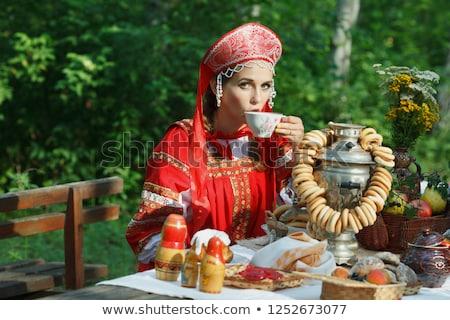 Stockfoto: Mooie · russisch · meisje · traditioneel · kleding · jonge · vrouw