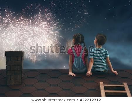 Petite fille feux d'artifice illustration fille enfants Photo stock © adrenalina