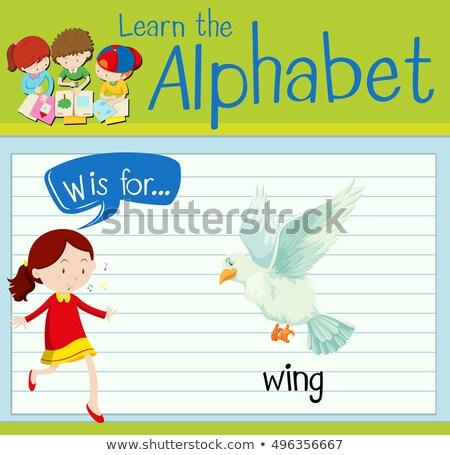 W harfi kanat örnek arka plan sanat eğitim Stok fotoğraf © bluering