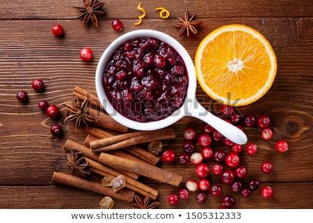 kızılcık · sos · kırmızı · çanak · Şükran · Günü · akşam · yemeği - stok fotoğraf © ozgur