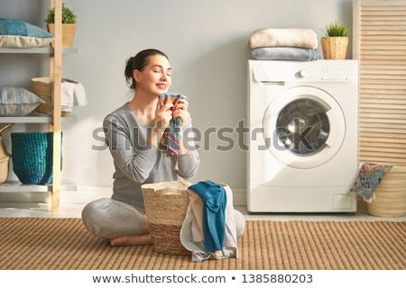 mosógép · vektor · valósághű · fehér · mos · illusztráció - stock fotó © bluering