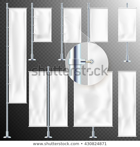 Set of 8 White textile banner and flags. EPS 10 Stock photo © beholdereye