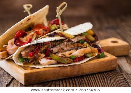 Tavuk ekmek akşam yemeği salata yemek Stok fotoğraf © M-studio