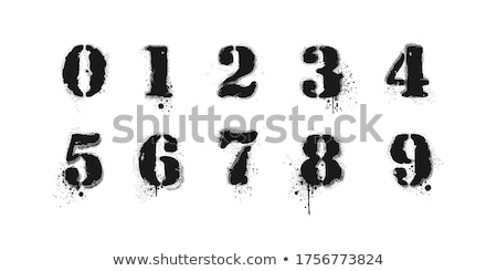 Graffiti numer osiem czarno białe sztuki piśmie Zdjęcia stock © Melvin07