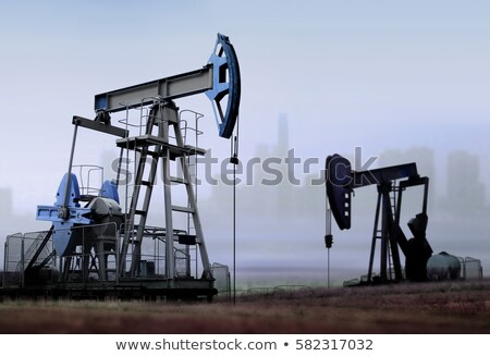 refinería · de · petróleo · puesta · de · sol · silueta · construcción · sol · paisaje - foto stock © ssuaphoto