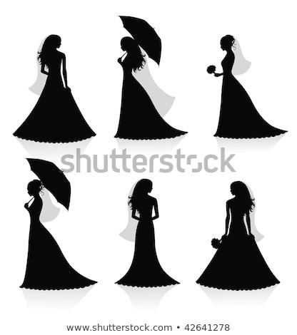 Bride Silhouette Holding Bouquet Stock photo © Krisdog