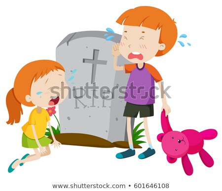 Two kids crying at gravestone Stock photo © bluering