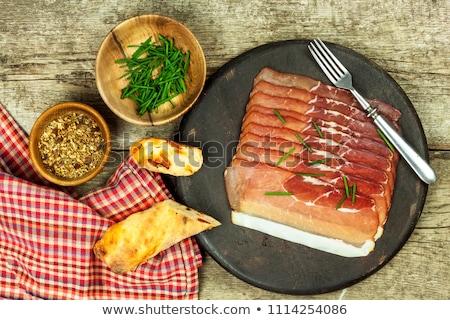 Vékony szeletek sonka fekete erdő tányér Stock fotó © Digifoodstock