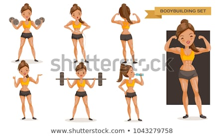 Pretty young strong sports lady in gym drinking water. Stock photo © deandrobot