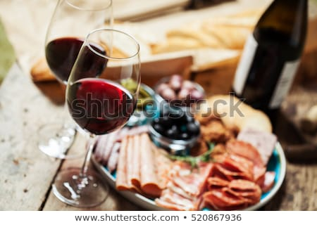 red wine with cheese and salami Stock photo © M-studio