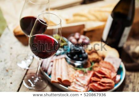 queijo · vinho · salame · pão · fundo · jantar - foto stock © m-studio