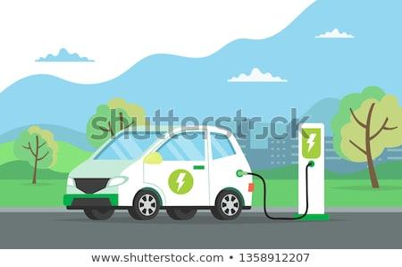 Vector stijl illustratie elektrische auto vervoer geïsoleerd Stockfoto © curiosity