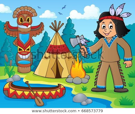 Native American children in boat theme 1 Stock photo © clairev