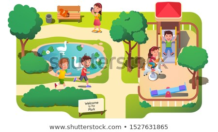 cartoon animals are playing photos in the park Stock photo © aminmario11