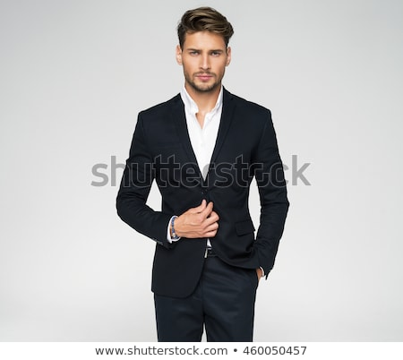 Zdjęcia stock: Wesoły · człowiek · czarny · garnitur · uśmiechnięty · łysy