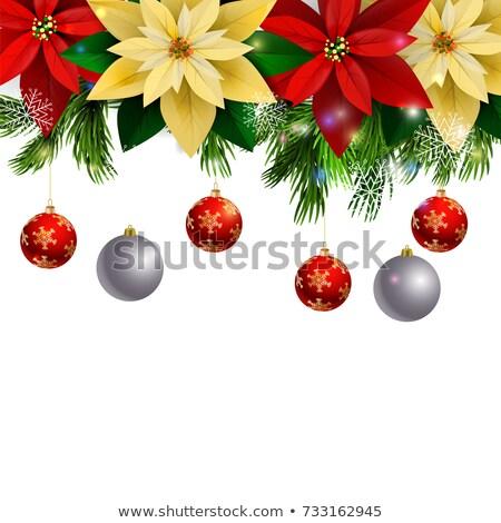Natal fronteira prata ramo metálico flocos de neve Foto stock © dariazu
