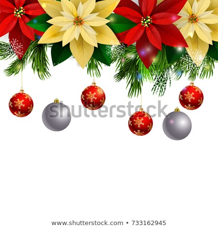 Christmas border, silver branch and metallic snowflakes  Stock photo © dariazu