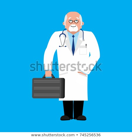 Doctor with suitcase in white wool. physician vector illustratio Stock photo © popaukropa
