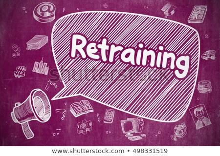Retraining - Cartoon Illustration on Purple Chalkboard. Stock photo © tashatuvango