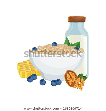 Gyümölcslé reggeli egészséges étel vektor étel gyümölcs Stock fotó © MaryValery