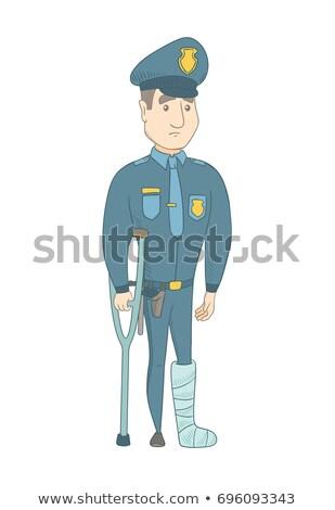 biały · człowiek · złamana · noga · kule · kalekiego · ranny · gips - zdjęcia stock © rastudio