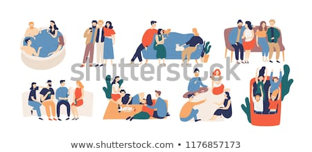 Man and woman sitting on sofa,  talking Stock photo © IS2
