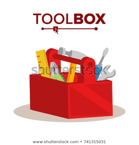Wooden Classic Toolbox Vector. Full Of Equipment. Flat Cartoon Isolated Illustration Stock photo © pikepicture