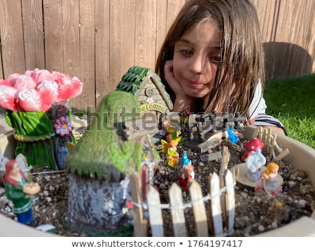 Girl looking at a garden gnome Stock photo © IS2