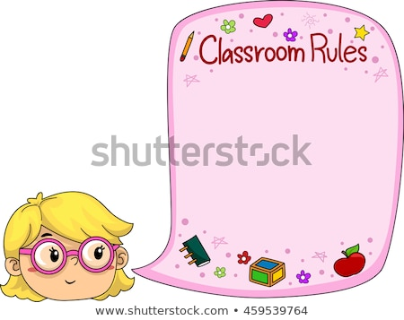 Kid Girl Classroom Rules Speech Bubble Stock photo © lenm