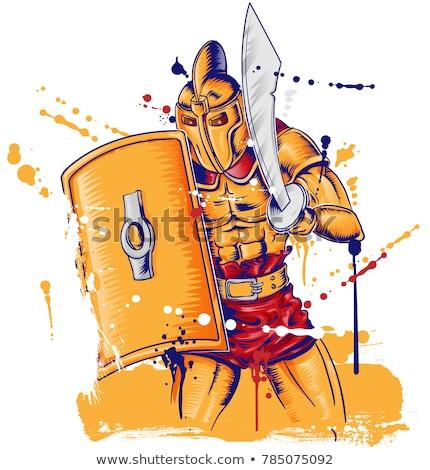 roman gladietor warrior mascot isolated on white stock photo © doomko