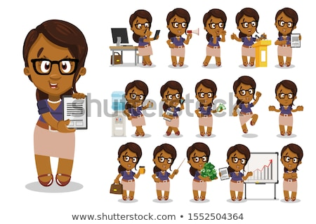 Spectacled African american business woman flat cartoon vector i Stock photo © NikoDzhi