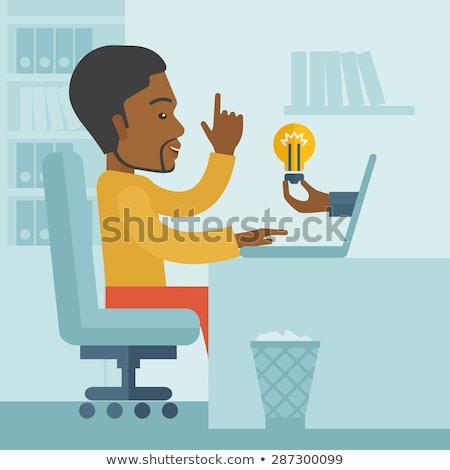 Africano americano desenho animado homem de negócios idéia vetor isolado Foto stock © NikoDzhi