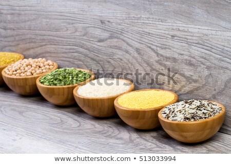 Ayarlamak tahıl bezelye pirinç bambu çanaklar Stok fotoğraf © dadoodas