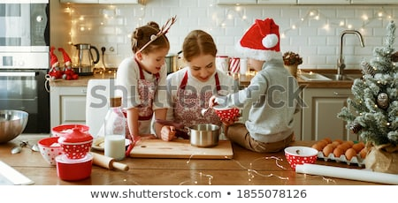Kid Girl Pastry Christmas Pastry Stock photo © lenm