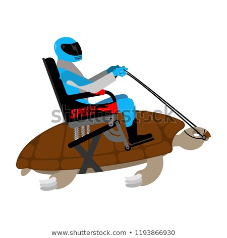 Riding turtle. Racer on reptile isolated on white background Stock photo © popaukropa