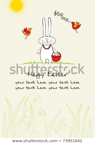 Happy Easter greeting text decorate with sun and Easter egg Stock photo © balasoiu